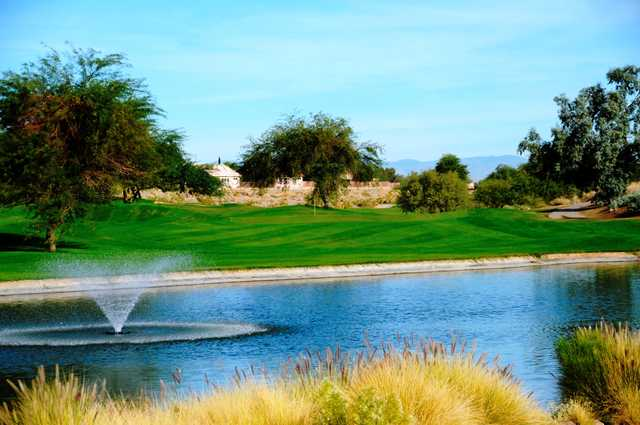 A view of the 16th green at Coyote Lakes Golf Club.