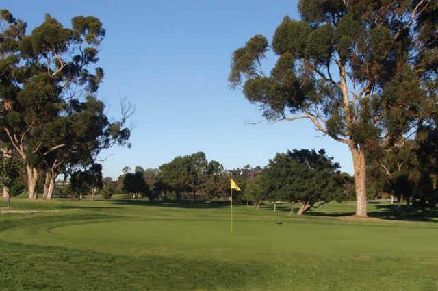 A view of a green at Nine Hole at Balboa Park Golf Club.