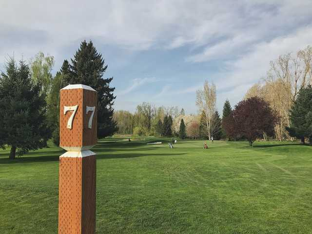 A view from tee sign #7 at Colwood Golf Center.
