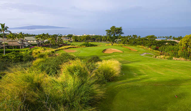 A view from tee #12 at Old Blue Course from Wailea Golf Club.
