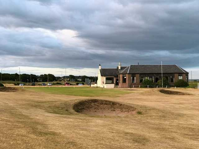 View of the clubhouse at  Arbroath Links Golf Course