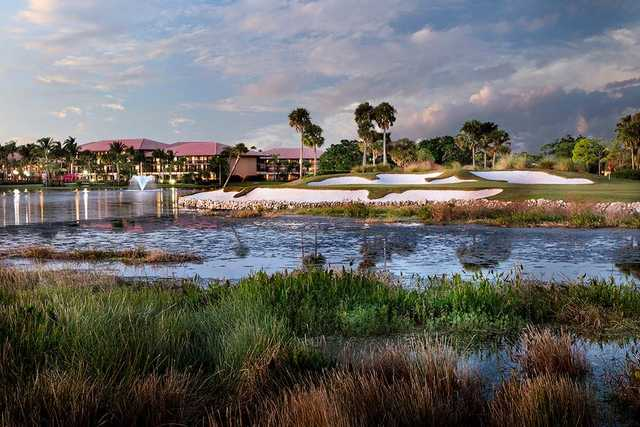 A view of hole #18 at Palmer Course from PGA National Resort & Spa.