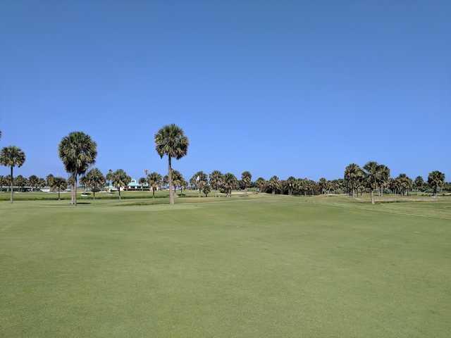 A summer day view of a green at Spessard Holland Golf Course.