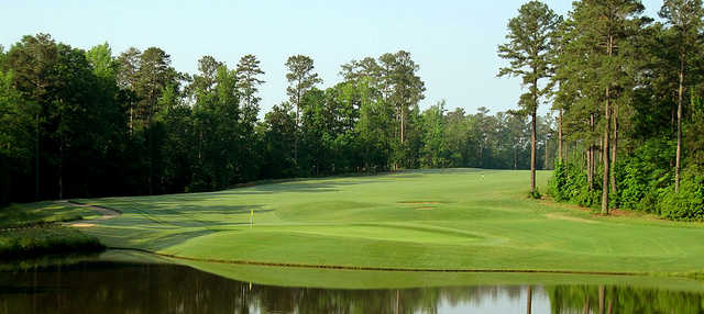 A view over the water of a hole at Bartram Trail Golf Club.
