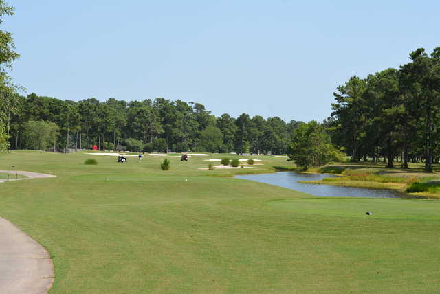 A view of tee #12 at Crow Creek Golf Club.