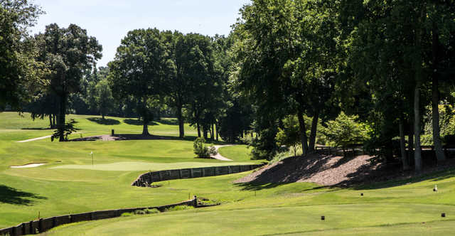 A sunny day view of from a tee at The Cardinal by Pete Dye