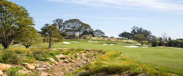 A view of a hole surrounded by tricky bunkers at Montecito Country Club.