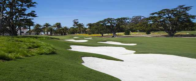A sunny day view from the left side of a fairway at Montecito Country Club.