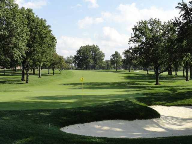A view of the 1st green at Canterbury Golf Club.