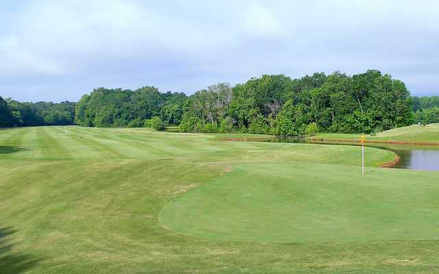 A view of green and fairway #10 from River at Hampton Cove Golf Course.