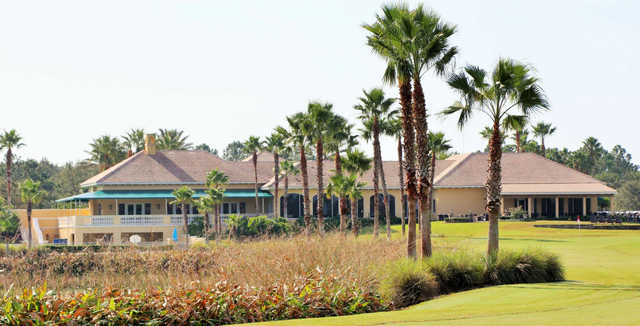 A view of the clubhouse and a hole at LPGA International.
