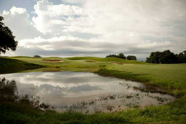 A view over a pond at SouthWood Golf Club.