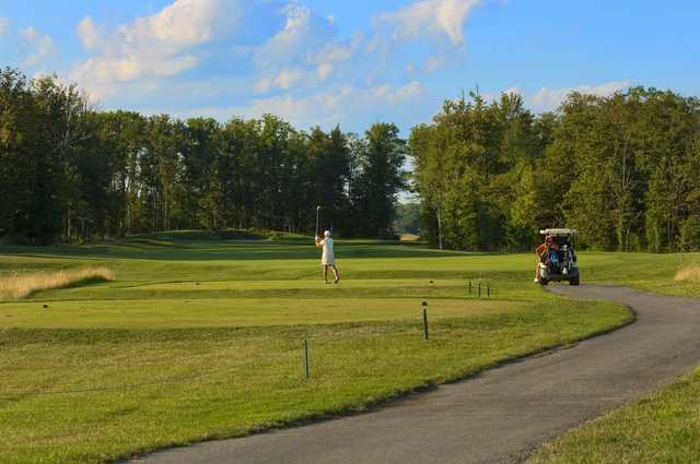 A view of a tee at Red Hawk Run Golf Course.