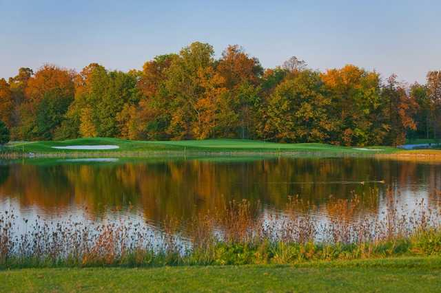 A fall day view from Red Hawk Run Golf Course.