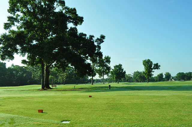 A view of a tee at J.S. Clark Park Golf Course.