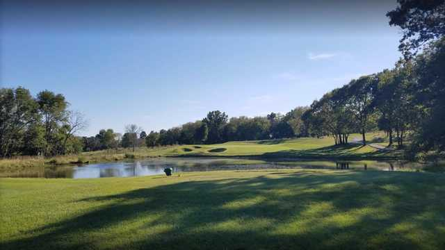 A view of a tee at Paradise Pointe Golf Complex.