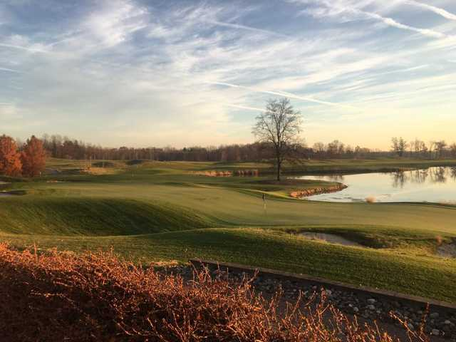 A late fall view of a green at WestWynd Golf Course.
