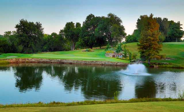 A view of green #15 Twin Oaks Country Club.