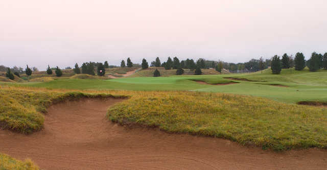 A view over a huge bunker from The Rawls Course at Texas Tech.