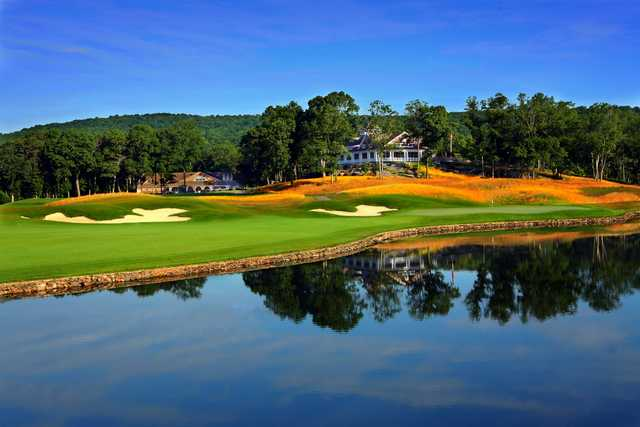 A view of hole #18 at Fox Hopyard Golf Club.