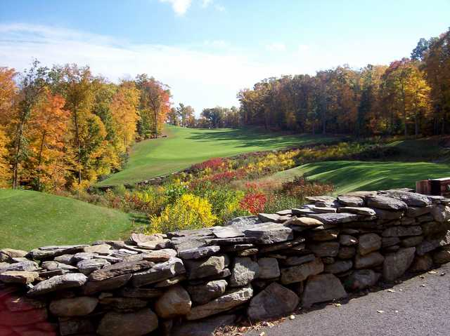 A fall day view of tee #3 at Fox Hopyard Golf Club.