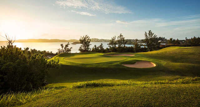 A sunset view of a hole at Tucker's Point Club.