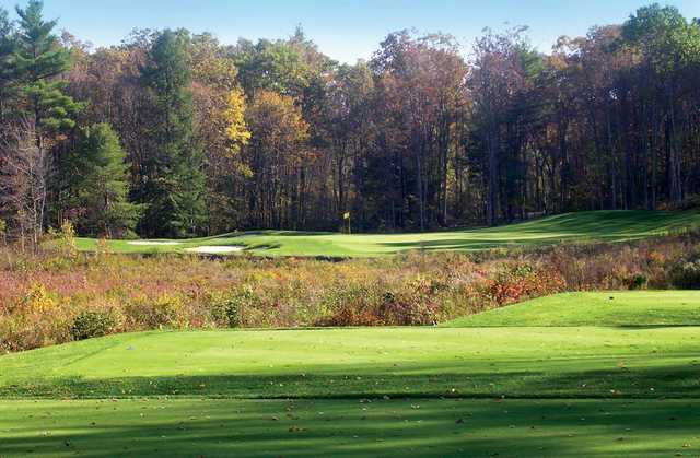 A fall day view from a tee at Blue Ridge Trail Golf Club.