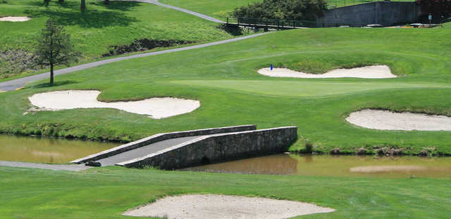 A view of a well protected green at Mount Airy Golf Club.