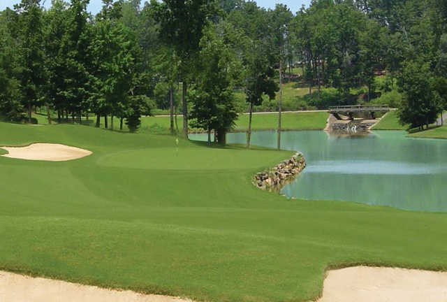 A view of the 18th green at Highland Creek Golf Club.
