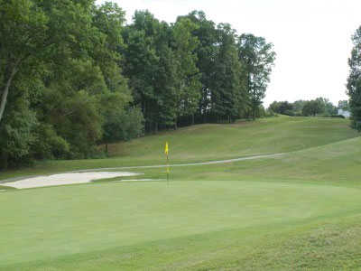 A view of the 11th green at Highland Creek Golf Club.
