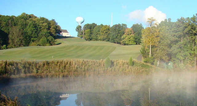 A view over the water of a fairway at Grande View from Tega Cay Golf Club.