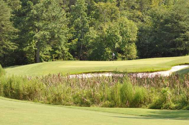 A sunny day view of a hole at Tega Cay Golf Club.