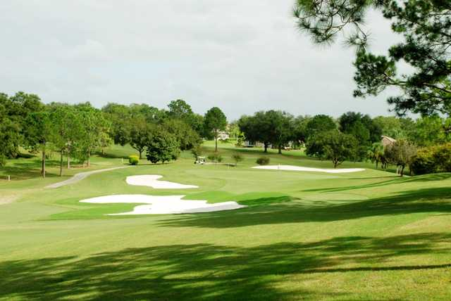 A view of a hole surrounded by bunkers at Harbor Hills Country Club.