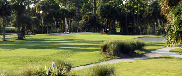 A view of a tee at Hidden Lakes Golf Course.