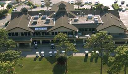 Aerial view of the clubhouse at Hidden Hills Golf Course