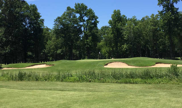 A view of a well protected hole at Refuge Golf Course.