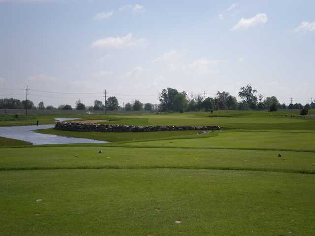 A sunny day view from a tee at Tanna Farms Golf Club.