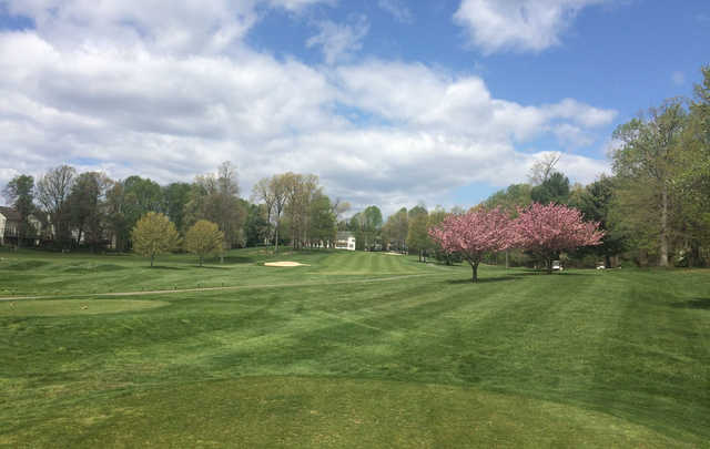 A spring day view from a tee at Penderbrook Golf Club.