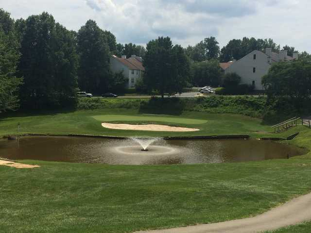 A view of a green with water coming into play at Penderbrook Golf Club.