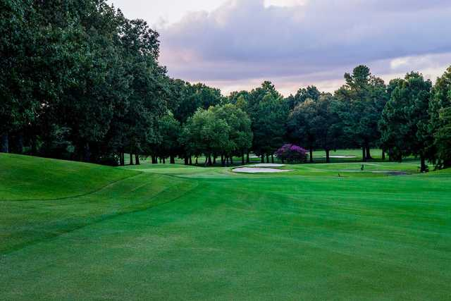 A view of a well protected hole at Ridgeway Country Club.