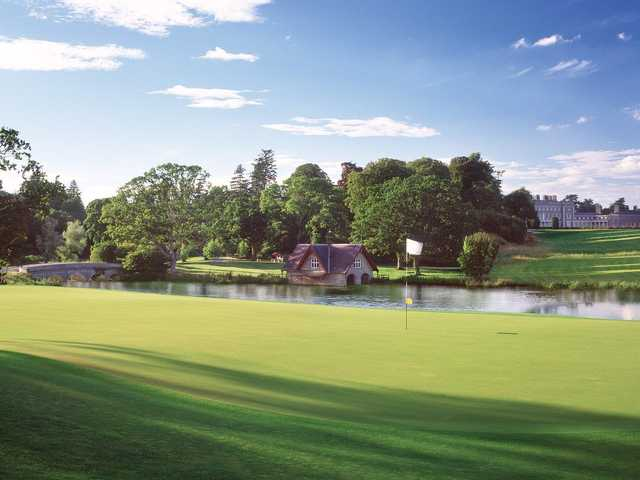 A view of a green with water coming into play from The Montgomerie Course at Carton House Golf Club.