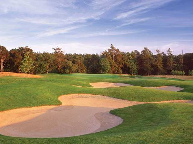 A sunset view of a well protected green from The O'Meara Course at Carton House Golf Club.