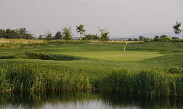 A view of a green with water coming into play at Wild Wings Golf Club.