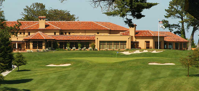 A view of a hole and the clubhouse at Green Hills Country Club.