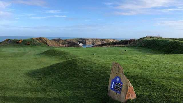 A view from a tee at Nefyn and District Golf Club.