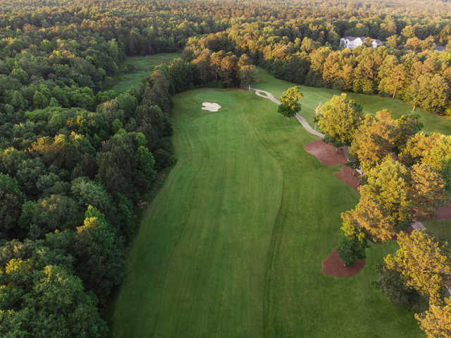 Aerial view of the 11th hole from the Jamestown Course at Williamsburg National Golf Club.