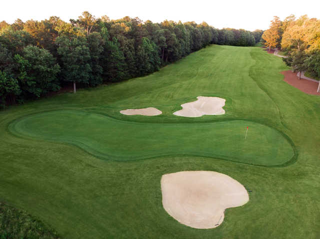 Aerial view of the 17th hole from the Jamestown Course at Williamsburg National Golf Club.