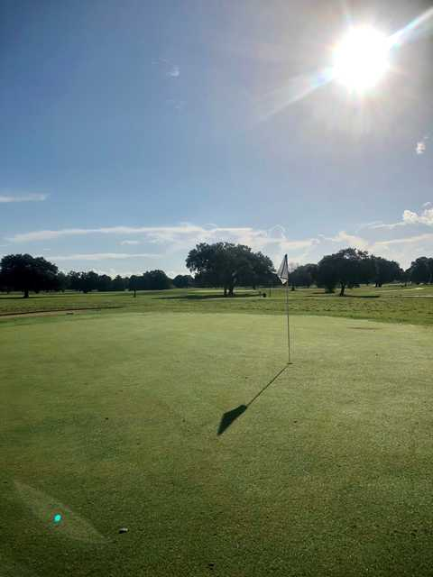 View from a green at Bayou Oaks City Park North Course