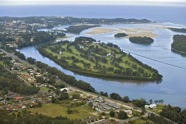 Aerial view of the course at Nambucca Heads Island Golf Club