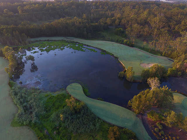 Aerial view from Kooindah Waters Golf Club